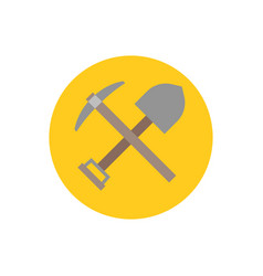 pick axe and shovel icon vector image vector image