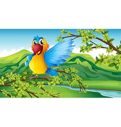 A colorful parrot in the forest vector image vector image