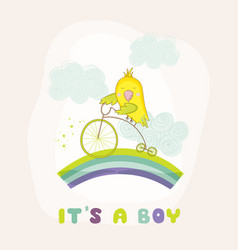 cute parrot riding a bike baby shower card vector image