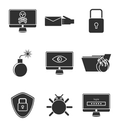 Hacking protection icon set vector image