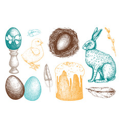 happy easter day design elements vector image vector image