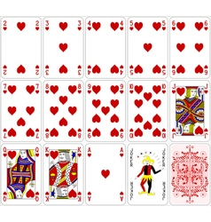 Poker cards heart set four color classic design vector image vector image