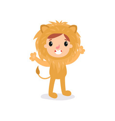 adorable toddler in lion costume little king of vector image vector image
