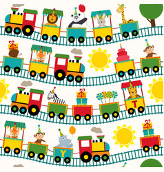seamless pattern train with birthday characters vector image vector image
