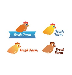 Set of Emblem with Chicken vector image
