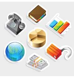 Sticker icon set for business metaphors vector image vector image
