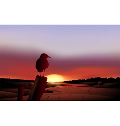 A bird in a sunset view of the desert vector image vector image