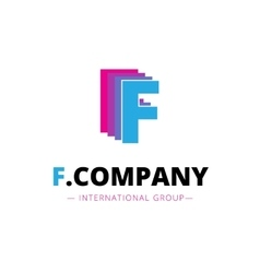 abstract bright pink and blue F letter logo vector image