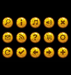 cartoon circle gold old buttons vector image vector image