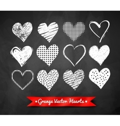 chalked Valentine hearts vector image vector image