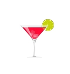 Cocktail icon glass of cold beverage lime vector image