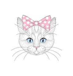 Cute cat portrait with pin up bow tie on head Hand vector image vector image