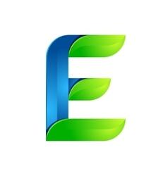E letter leaves eco logo volume icon vector image