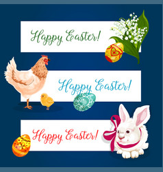 Easter holiday banner set with egg bunny chicken vector