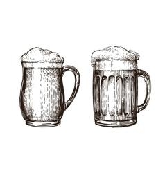 Hand drawn beer mug elements for design menu vector