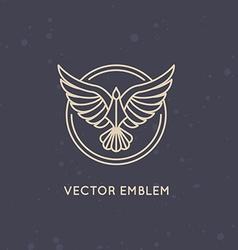 linear logo design template - eagle emblem vector image
