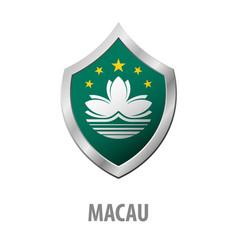Macau flag on metal shiny shield vector