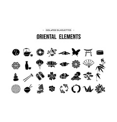 Oriental and Asian icons set isolated over white vector image vector image