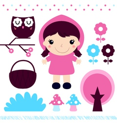 Red Riding Hood design elements set vector image vector image