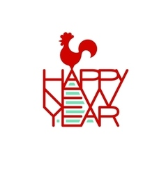 Rooster standing on the words Happy New Year vector image