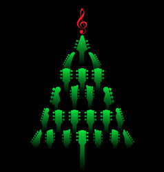 a christmas tree made of guitar headstocks vector image