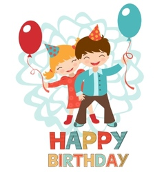 Birthday card with happy kids vector