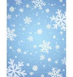 Blue background with white blurred snowflakes vector