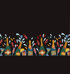 Border with bottles champagne and glasses vector
