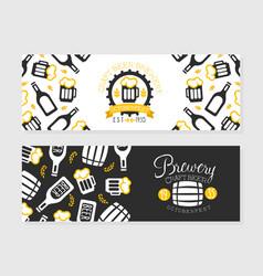 brewery craft beer horizontal banner templates set vector image