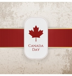 canada day paper badge with red ribbon vector image