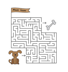 cartoon dog maze game vector image