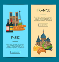 cartoon france sights objects vector image