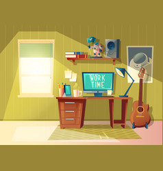 Cartoon home office interior workplace vector