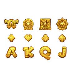 Cartoon maya slots golden icons ancient mexican vector