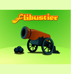 cartoon pirate cannon with cores vector image
