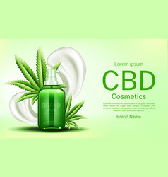 Cbd cosmetics bottle with cream smears and leaves vector