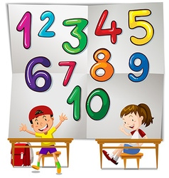 Children and numbers one to ten vector