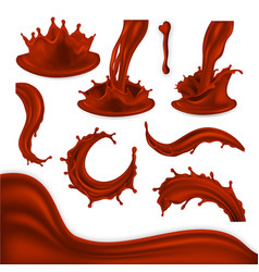 chocolate splash set brown cocoa wave vector image