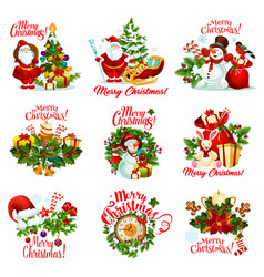 christmas gift icon for new year holiday card vector image