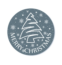 Christmas round card grey vector