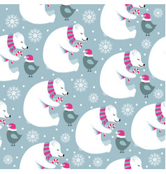 christmas seamless pattern with polar bears and vector image