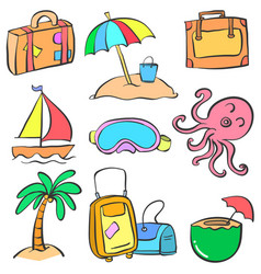 collection element summer doodle style vector image