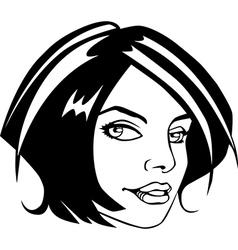 Comic book style girl face vector