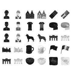 Country belgium blackmonochrome icons in set vector