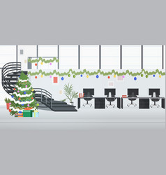 Coworking center decorated for christmas holidays vector