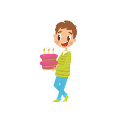 cute boy carrying birthday cake cartoon vector image