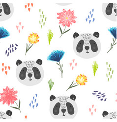 cute cartoon pattern with panda dots and flowers vector image