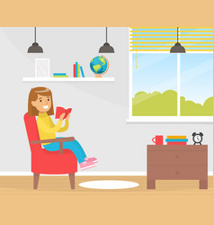 cute smiling girl reads book sitting in armchair vector image