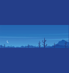 Desert and cactuses night scene panoramic banner vector