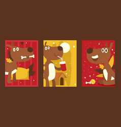 dog cartoon character set colorful banners vector image